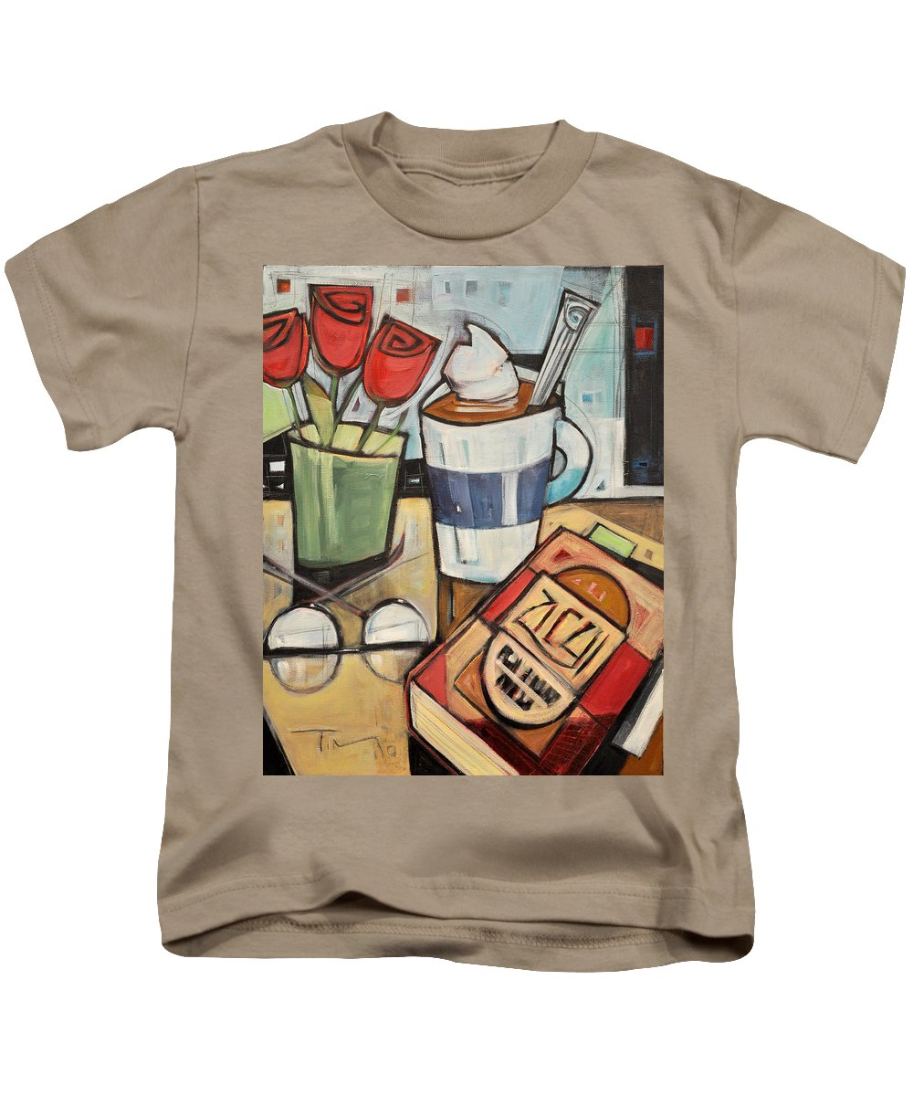 Cocoa Kids T-Shirt featuring the painting Cocoa And A Good Book by Tim Nyberg