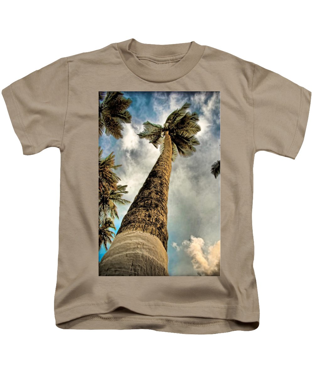 Coconut Tree Sky Clouds Blue White Brown Venezuela Kids T-Shirt featuring the photograph Coconut by Galeria Trompiz