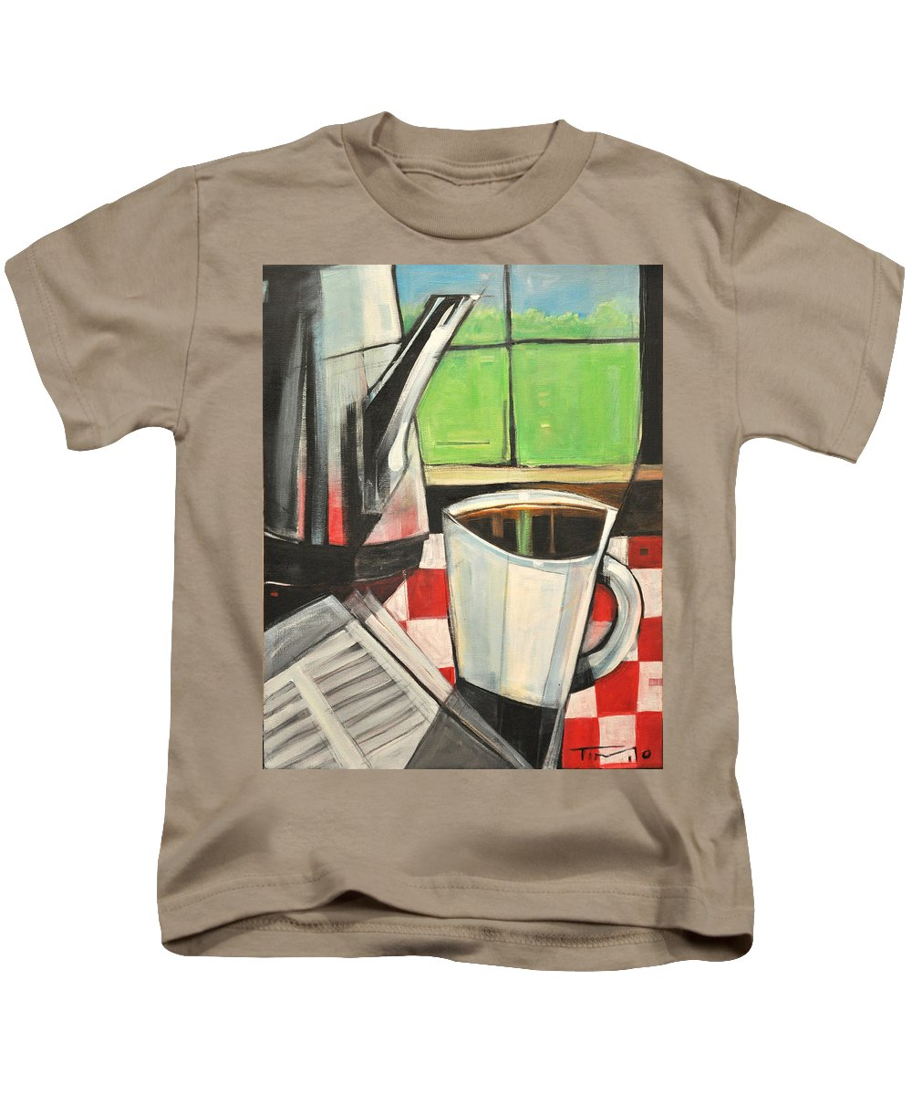 Coffee Kids T-Shirt featuring the painting Coffee And Morning News by Tim Nyberg