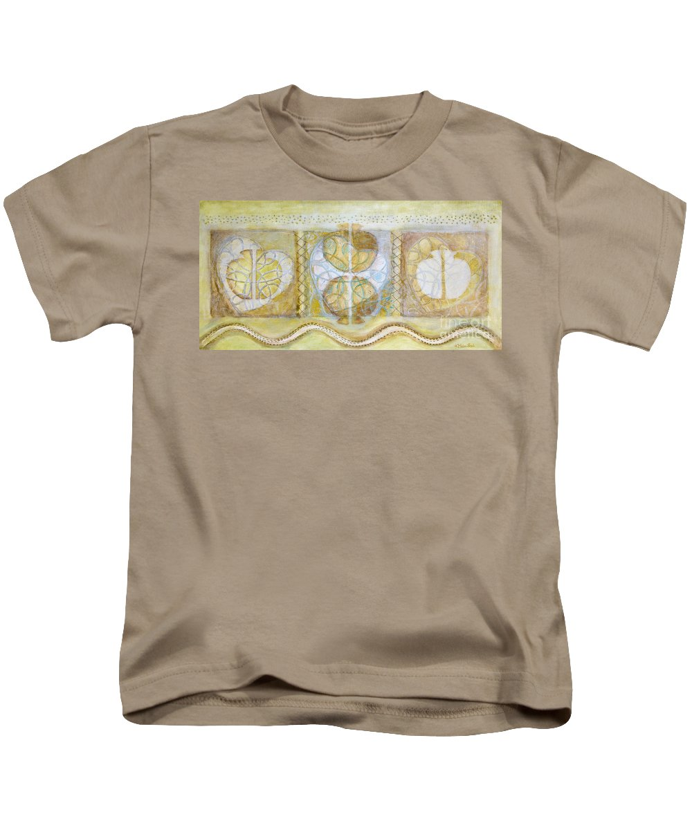 Symbolism Kids T-Shirt featuring the painting Collective Unconscious Three Equals One Equals Enlightenment by Kerryn Madsen- Pietsch