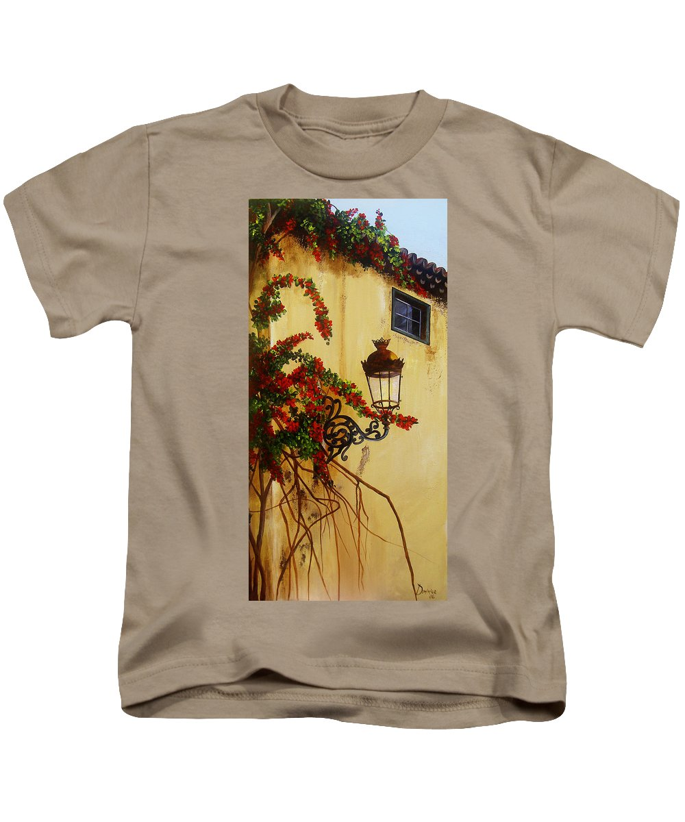 Cuban Painter Kids T-Shirt featuring the painting Colonial Corner by Dominica Alcantara