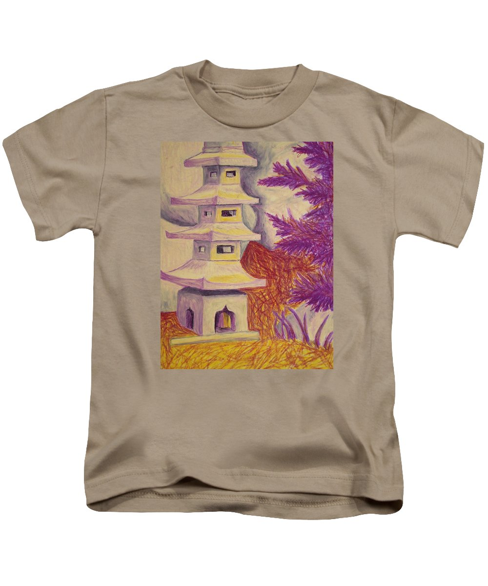 Tree Kids T-Shirt featuring the pastel Colorful Garden by Jean Haynes