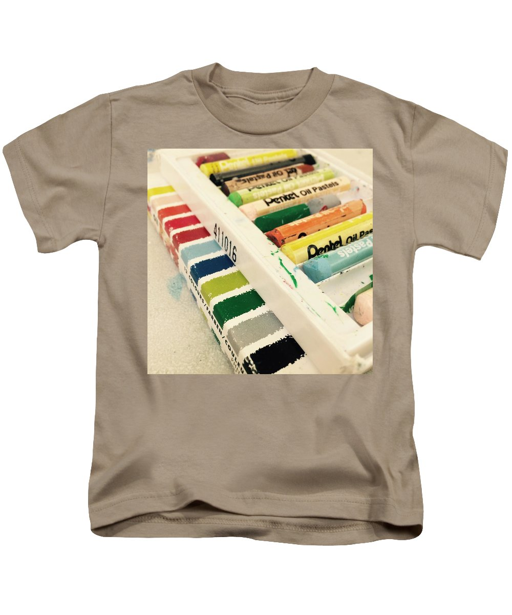 Pentel Oil Pain oil Paint Colour Square Yellow Red Green Brown Box Kids T-Shirt featuring the photograph Colour Of Life by In Plain Sight