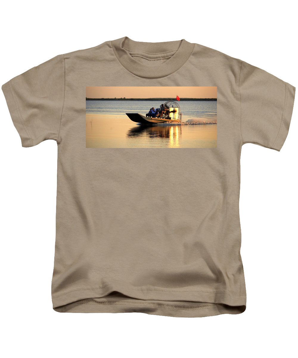 Air Boat Kids T-Shirt featuring the photograph Coming Home by Susanne Van Hulst
