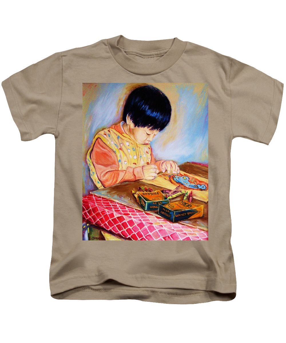 Beautiful Child Kids T-Shirt featuring the painting Commission Portraits Your Child by Carole Spandau