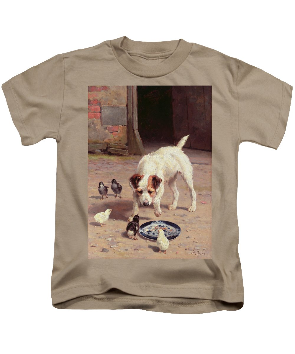 Confrontation Kids T-Shirt featuring the painting Confrontation by Alfred Duke