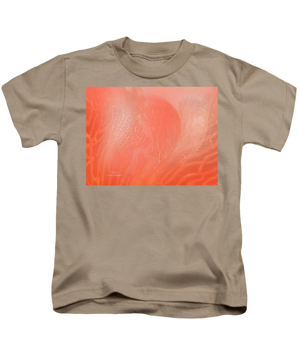 Coral Kids T-Shirt featuring the mixed media Coral by Carol Cavalaris