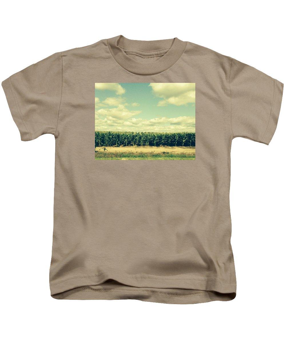 Cornfield In Missouri Kids T-Shirt featuring the painting Cornfield In Missouri by Randy Imler