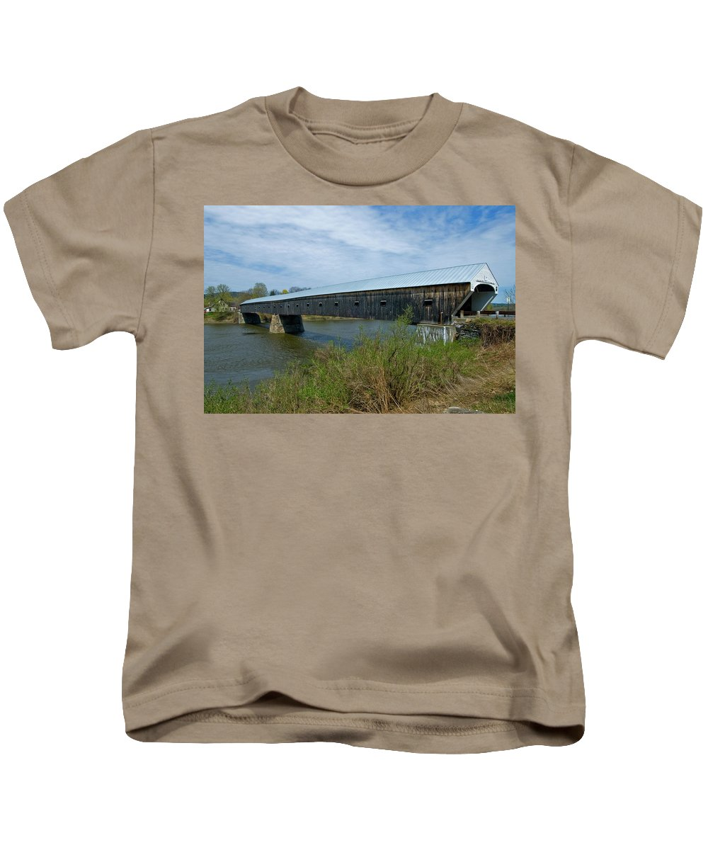 new England Covered Bridges Kids T-Shirt featuring the photograph Cornish-windsor Bridge by Paul Mangold