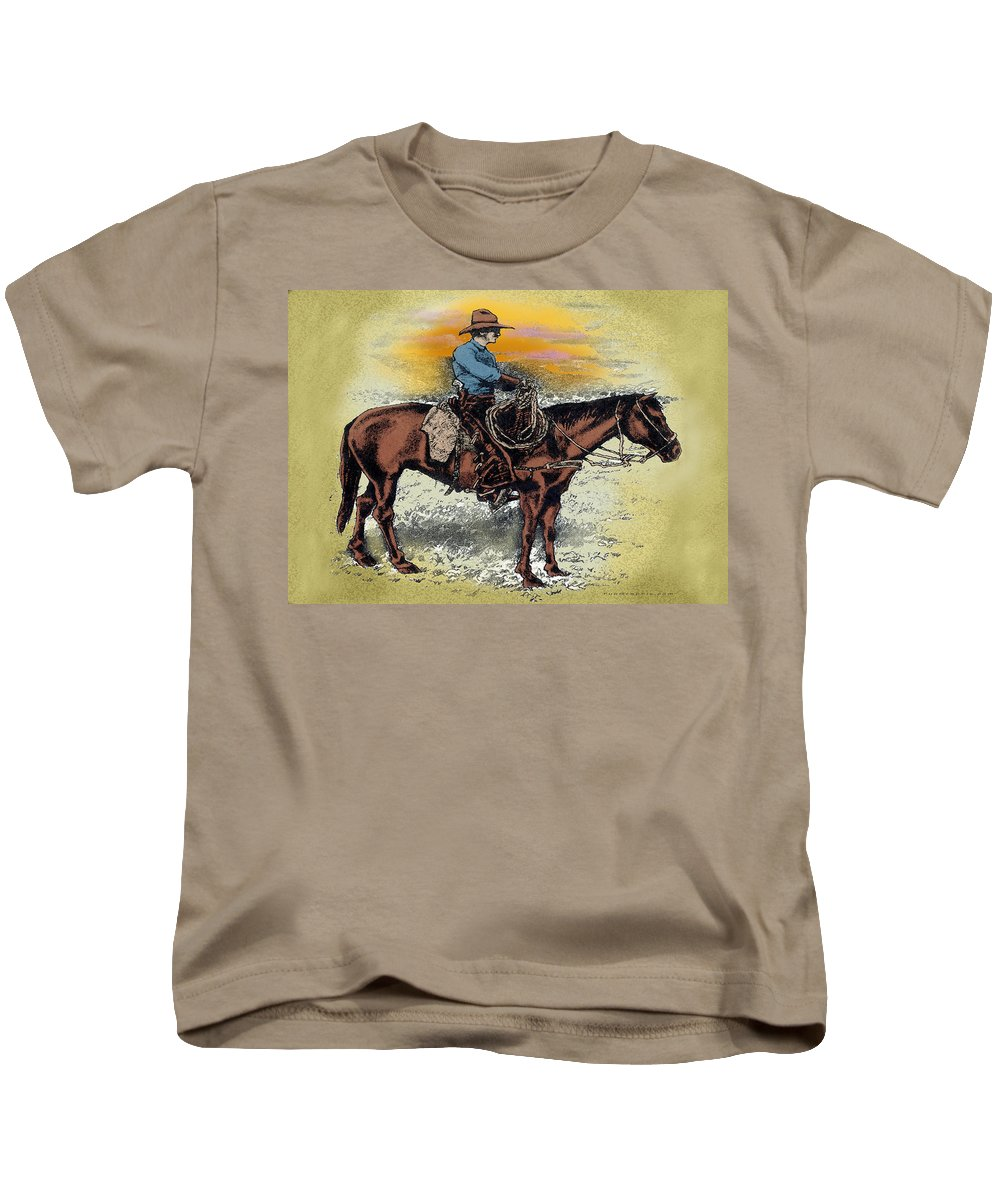 Cowboy Kids T-Shirt featuring the painting Cowboy N Sunset by Kevin Middleton