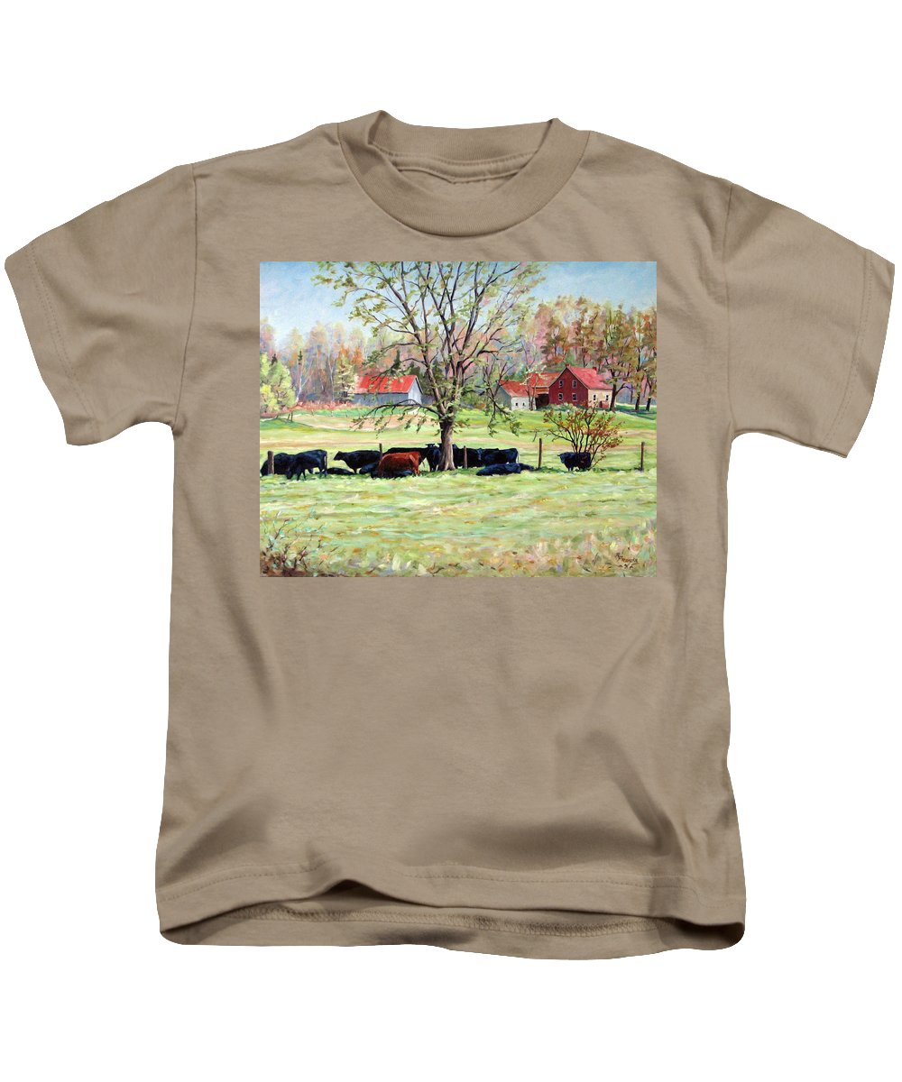 Cows Kids T-Shirt featuring the painting Cows Grazing In One Field by Richard T Pranke