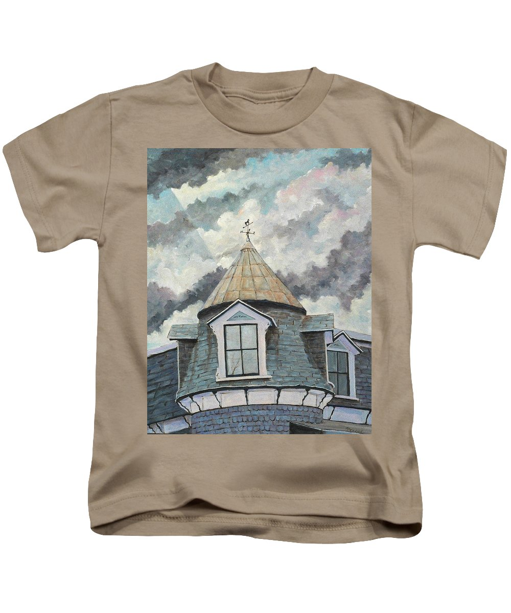 Art Kids T-Shirt featuring the painting Crack The Sky_reserve by Richard T Pranke