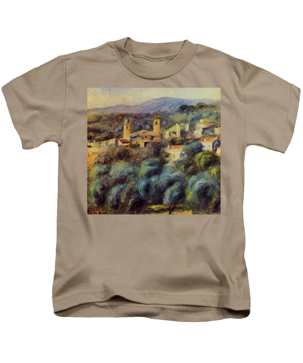 Cros Kids T-Shirt featuring the painting Cros De Cagnes 1905 by Renoir PierreAuguste
