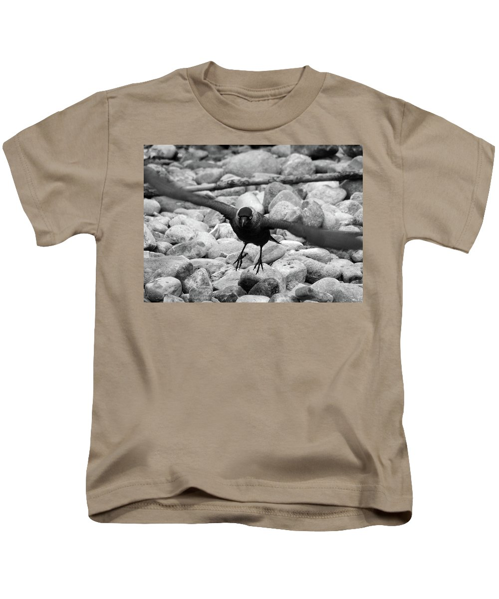 Crow Kids T-Shirt featuring the photograph Crow Takes Off by Philip Openshaw