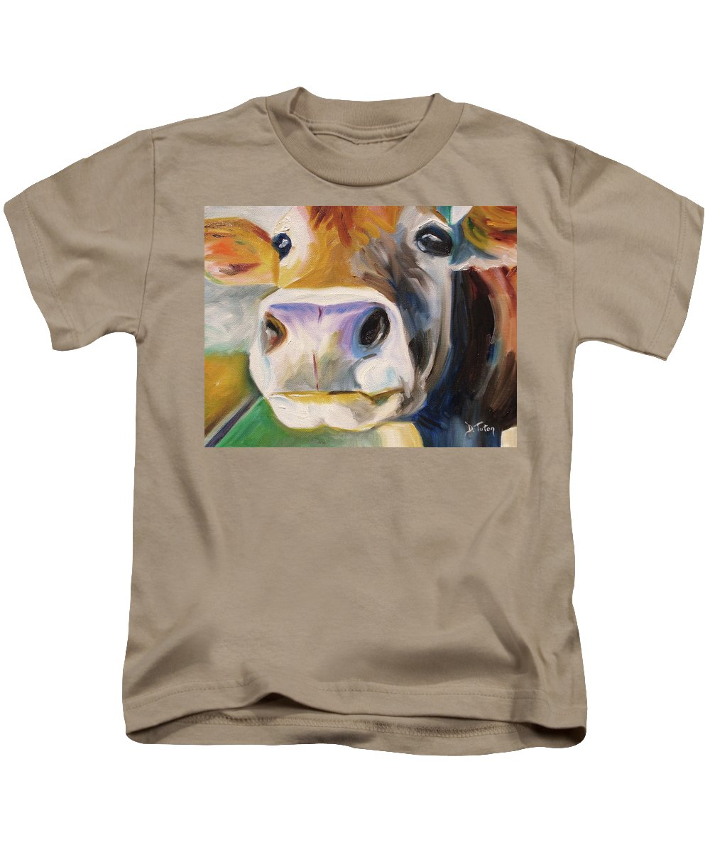 Curious Cow Kids T-Shirt featuring the painting Curious Cow by Donna Tuten