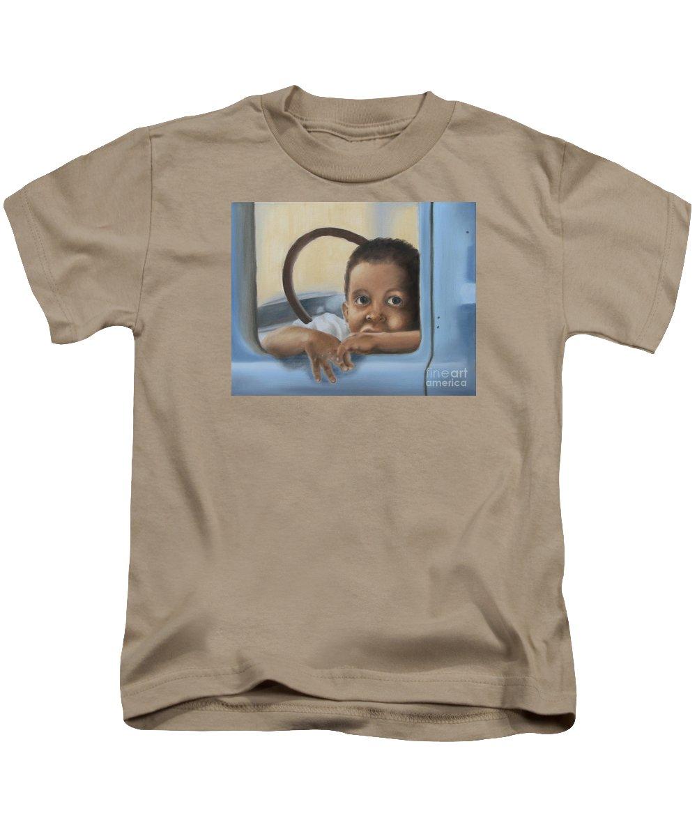 American Kids T-Shirt featuring the painting Daddy's Truck by Annemeet Hasidi- van der Leij
