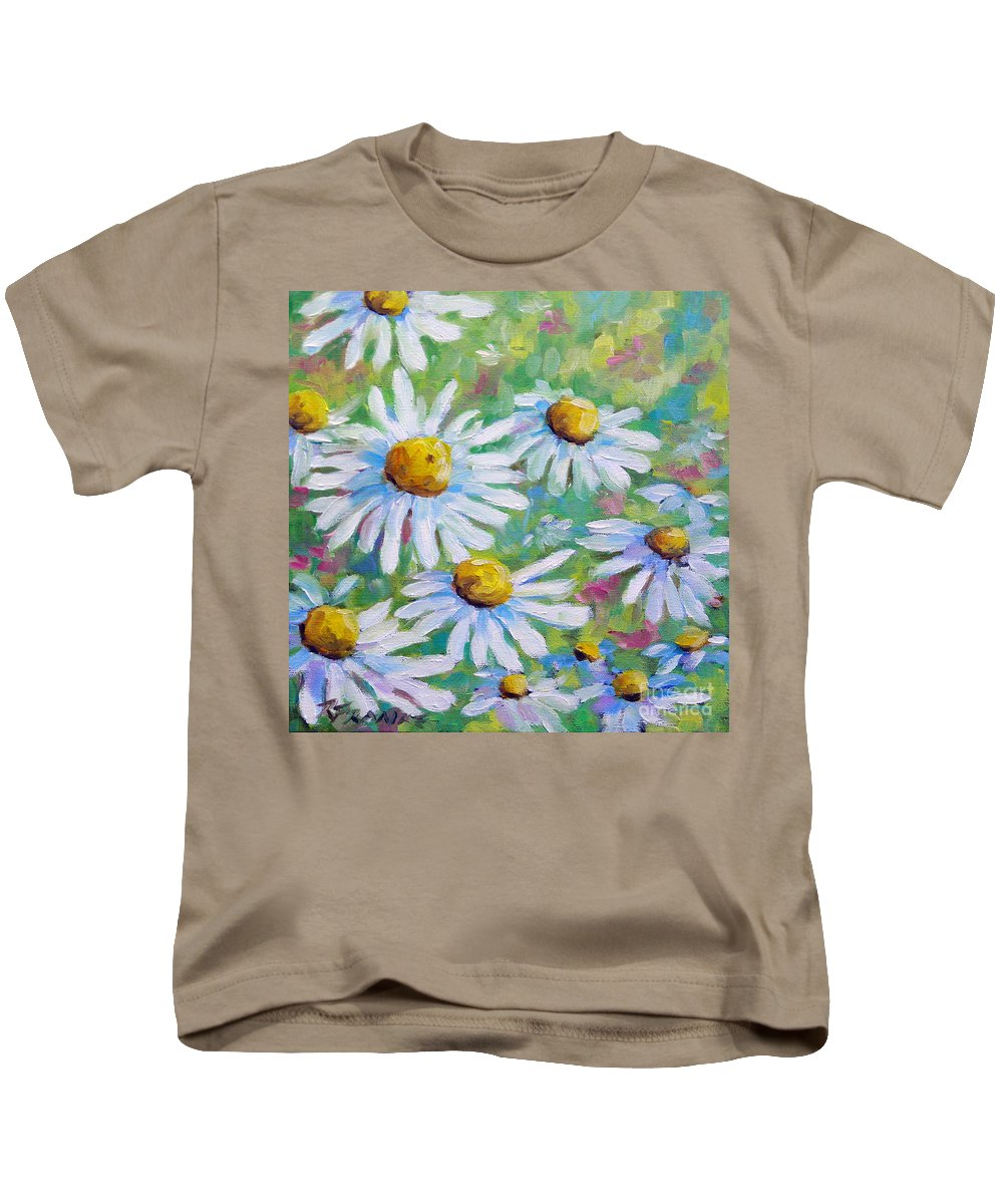 Art Kids T-Shirt featuring the painting Daisies In Spring by Richard T Pranke