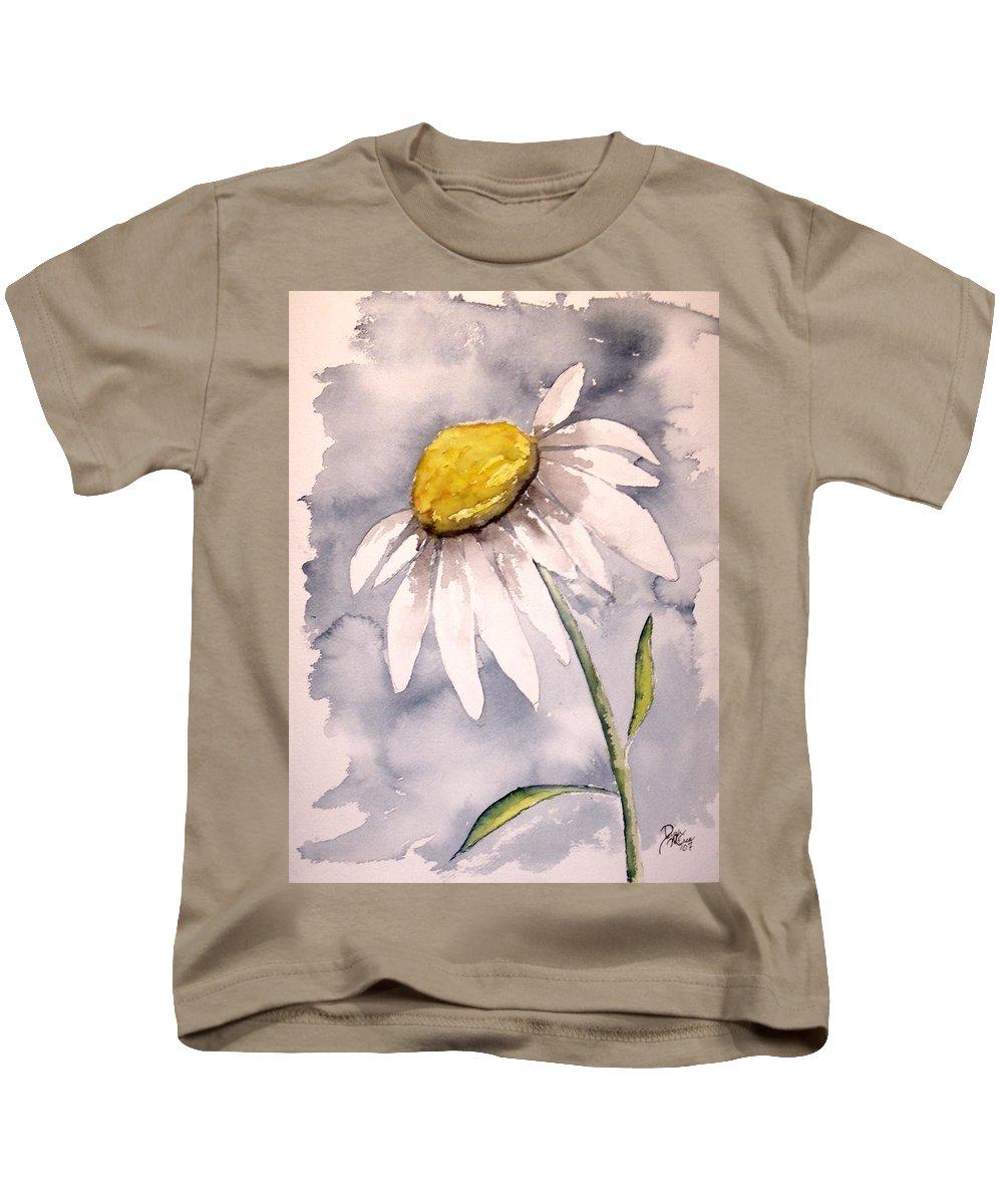 Daisy Kids T-Shirt featuring the painting Daisy Modern Poster Print Fine Art by Derek Mccrea