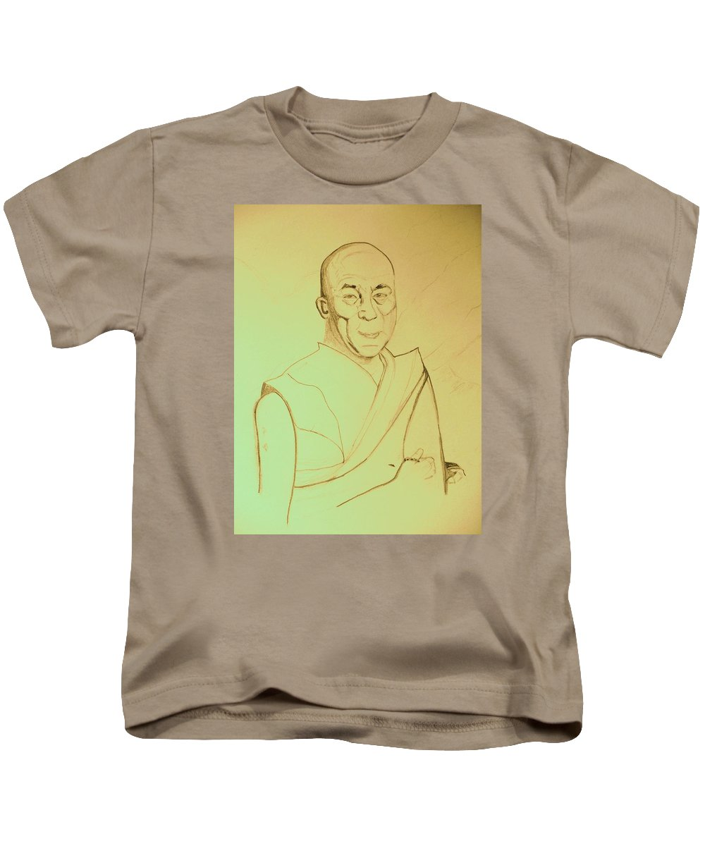 Humanity Kids T-Shirt featuring the digital art Dalai Lama. by Corinne de la Garrigue