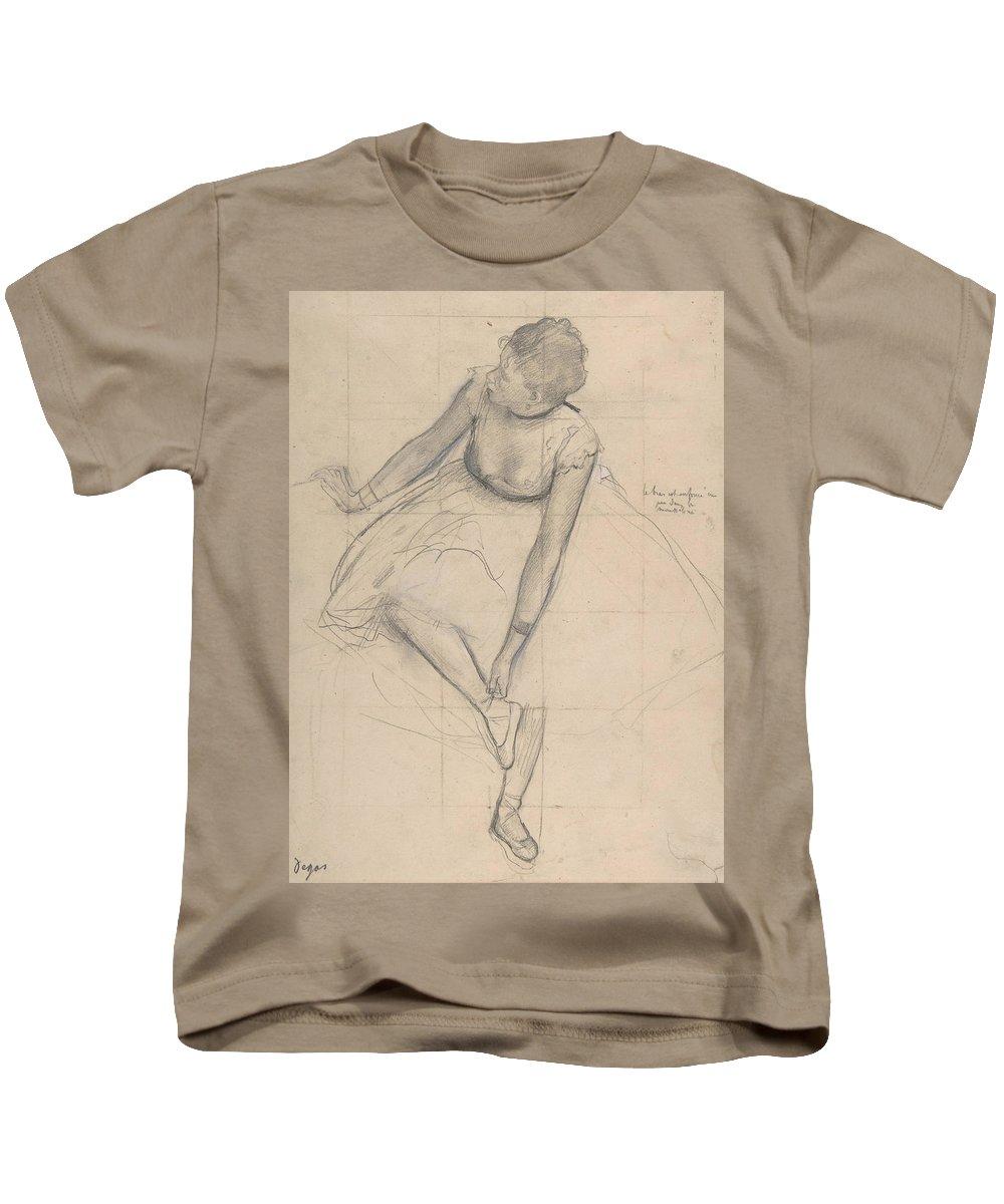 Degas Art Kids T-Shirt featuring the drawing Dancer Adjusting Her Slipper by Edgar Degas