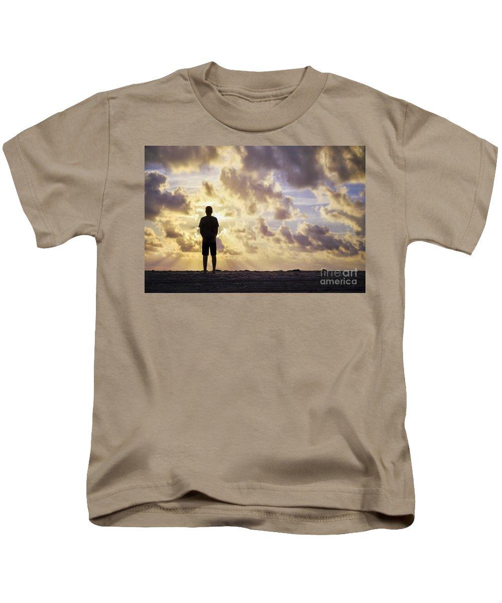 Kremsdorf Kids T-Shirt featuring the photograph Dawn Patrol by Evelina Kremsdorf