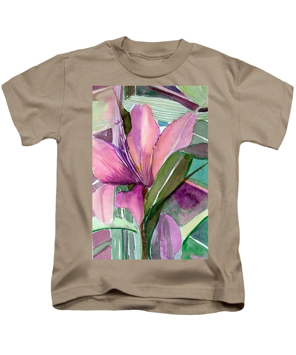 Flower Kids T-Shirt featuring the painting Day Lily Pink by Mindy Newman