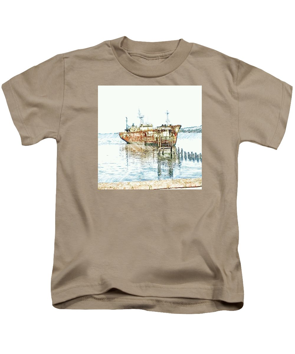 Ship Kids T-Shirt featuring the photograph Days Gone By by Laura Costa