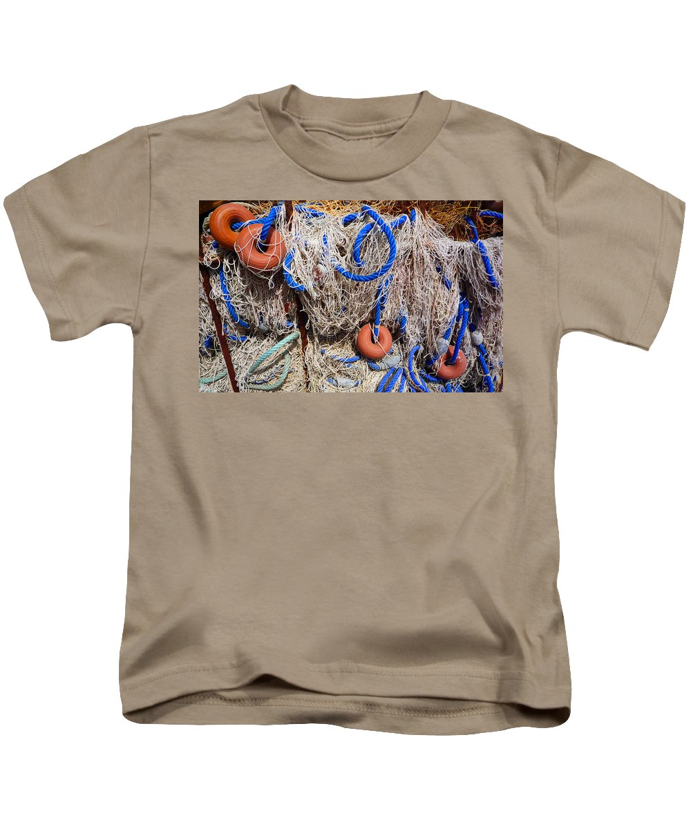 Fishing Net Kids T-Shirt featuring the photograph Deep Blue Net by Charles Stuart
