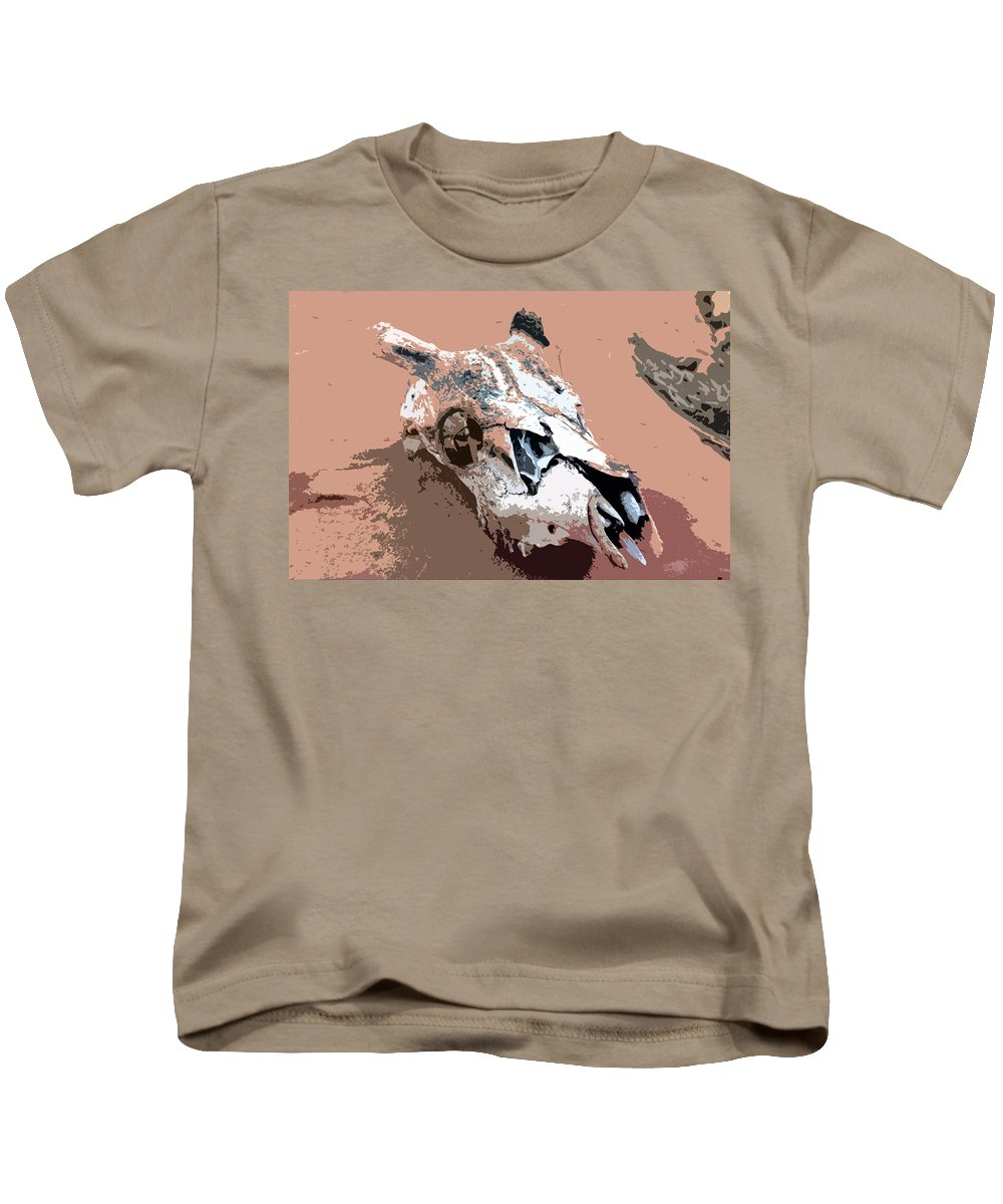 Skull Kids T-Shirt featuring the painting Deer Spirit by David Lee Thompson