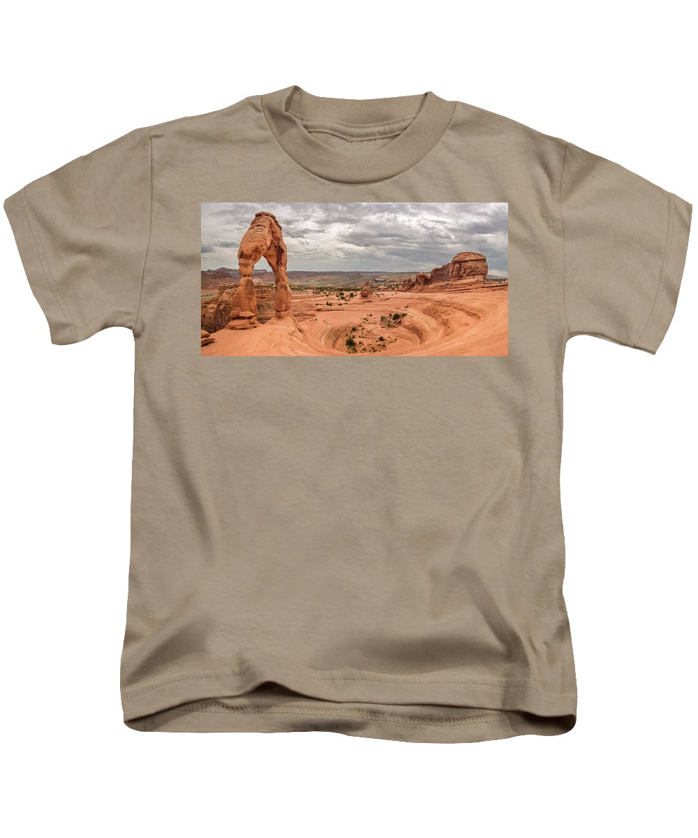 3scape Kids T-Shirt featuring the photograph Delicate Arch Panoramic by Adam Romanowicz