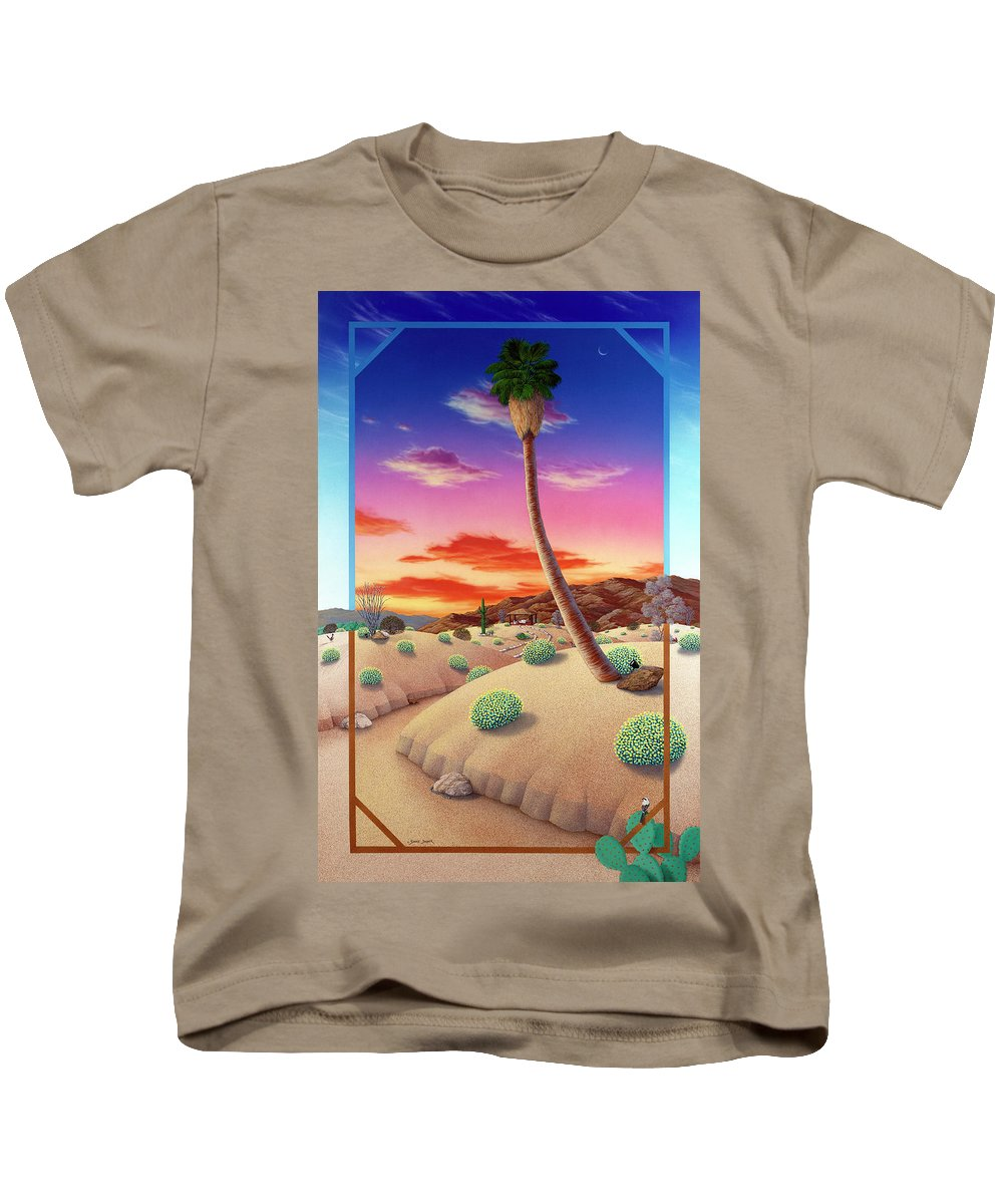 Landscape Kids T-Shirt featuring the painting Desert Gazebo by Snake Jagger