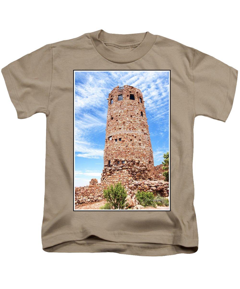 Desert View Tower Kids T-Shirt featuring the photograph Desert View Tower, Grand Canyon by A Gurmankin