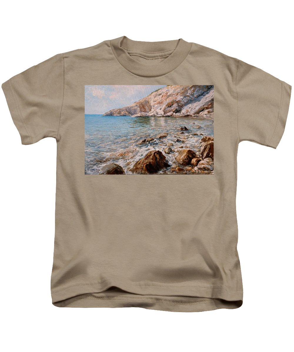 Seascape Kids T-Shirt featuring the painting Det by Sefedin Stafa