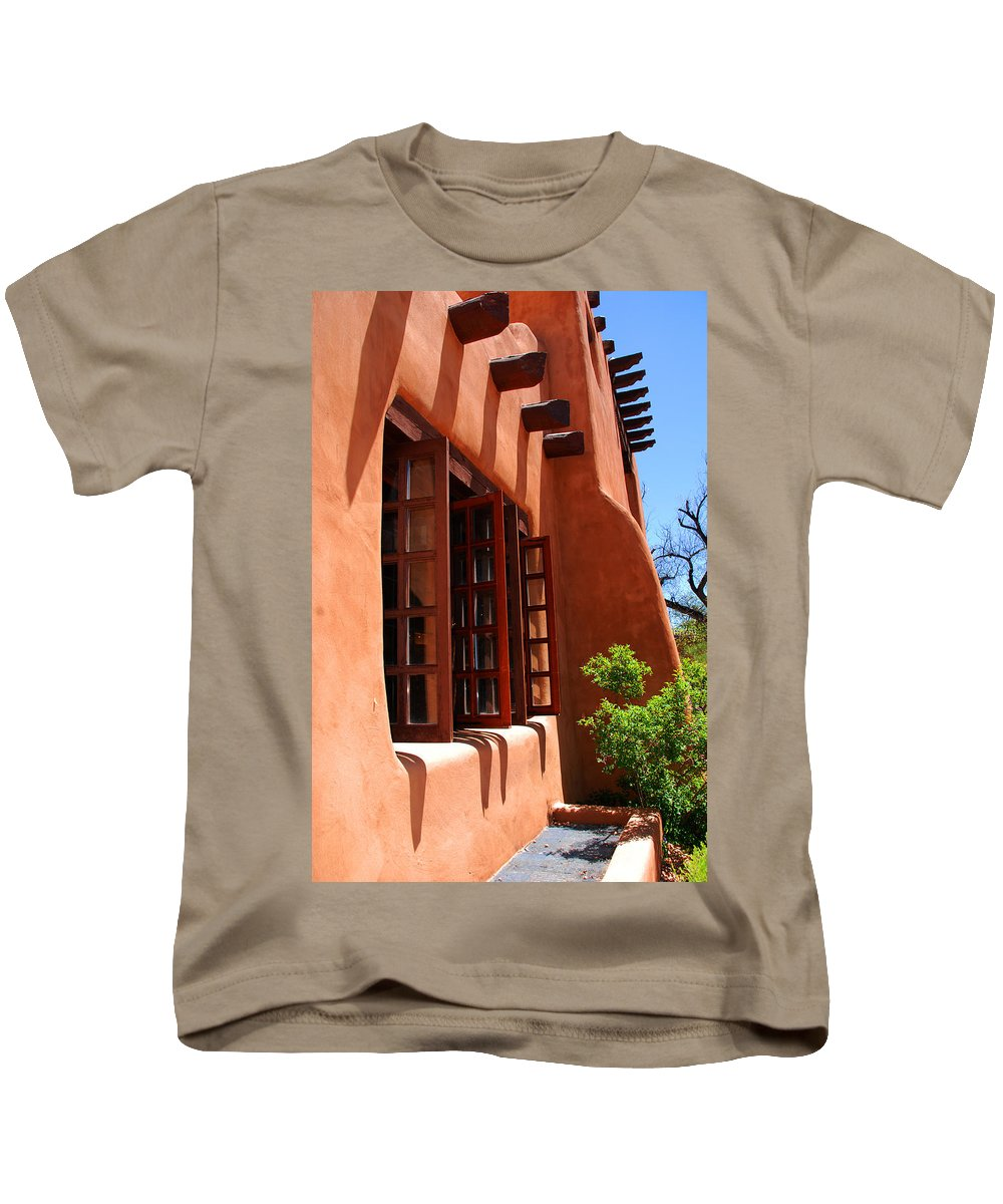 Santa Fe Kids T-Shirt featuring the photograph Detail Of A Pueblo Style Architecture In Santa Fe by Susanne Van Hulst