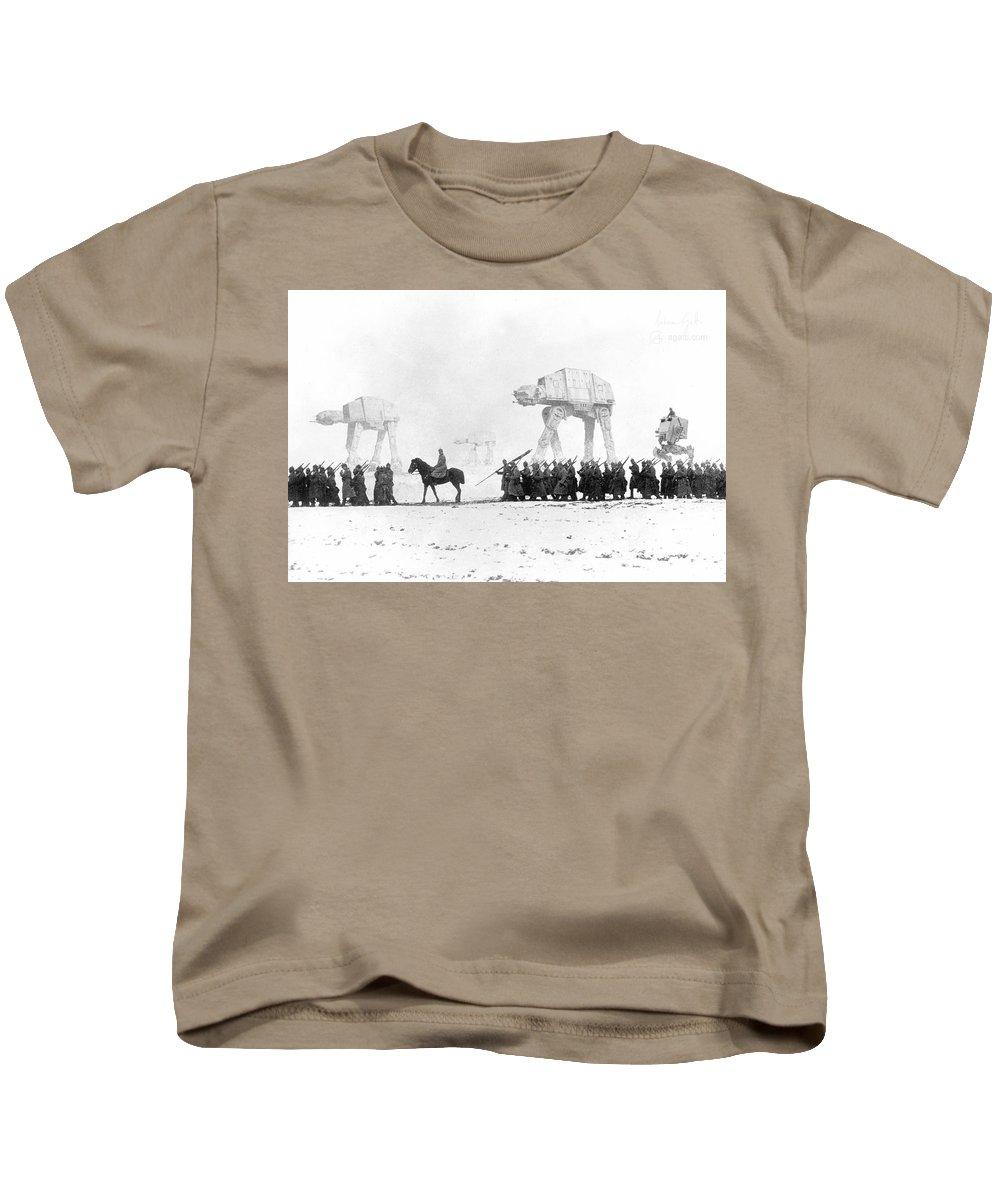 Sci-fi Kids T-Shirt featuring the digital art Deutsches Heer by Andrea Gatti
