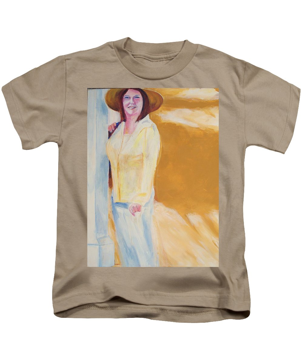 Portraits Kids T-Shirt featuring the painting Diane by Eric Schiabor