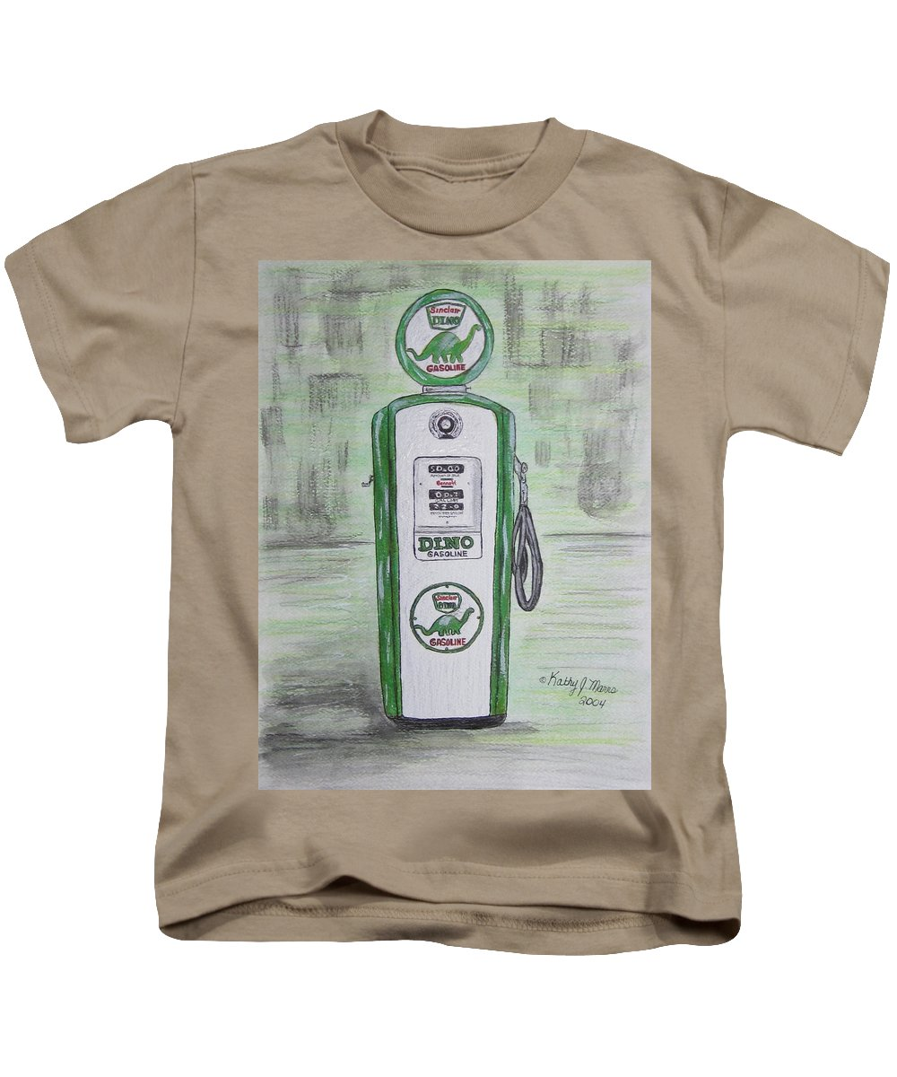 Dino Kids T-Shirt featuring the painting Dino Sinclair Gas Pump by Kathy Marrs Chandler