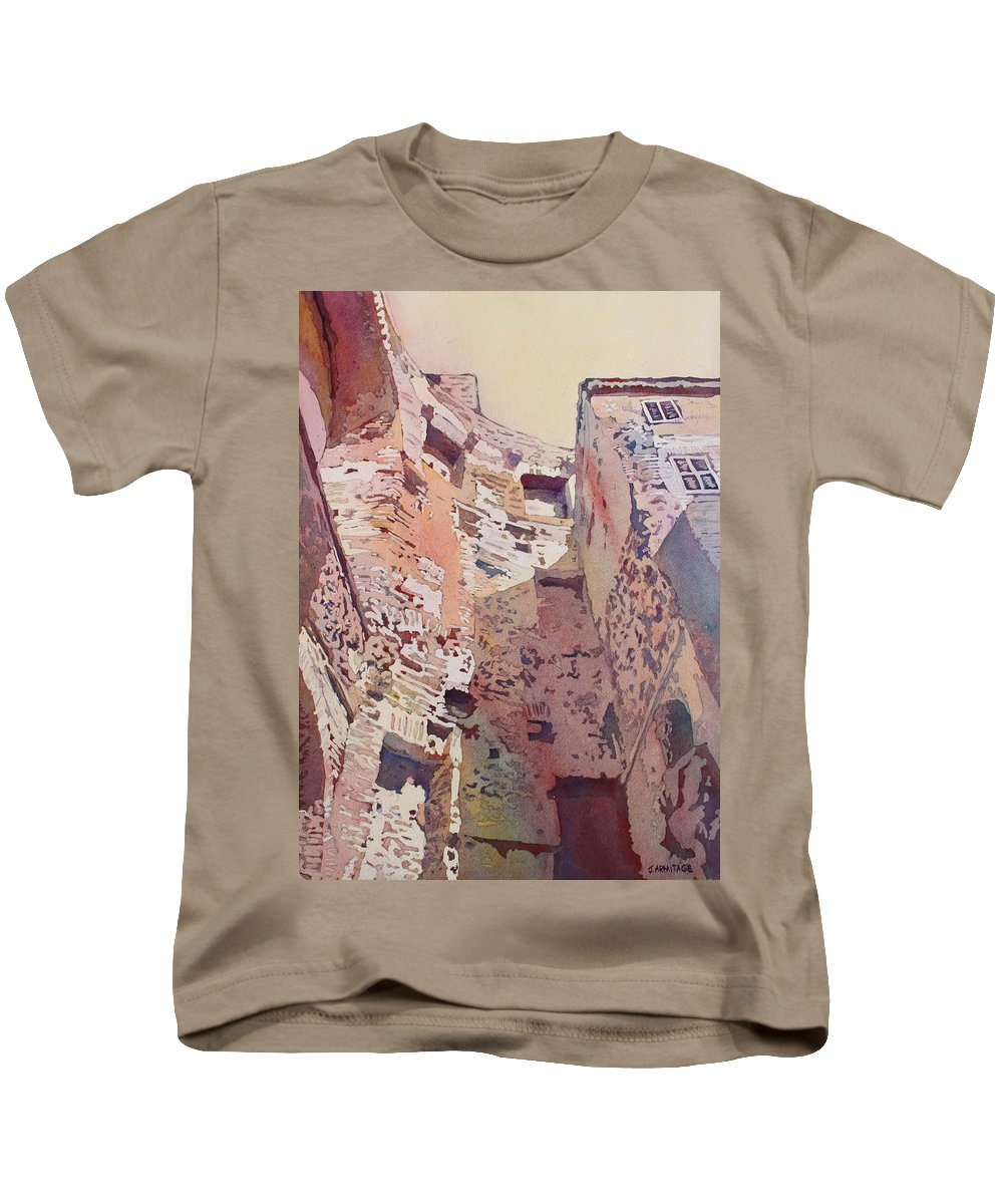 Rome Kids T-Shirt featuring the painting Diocletian Courtyard by Jenny Armitage