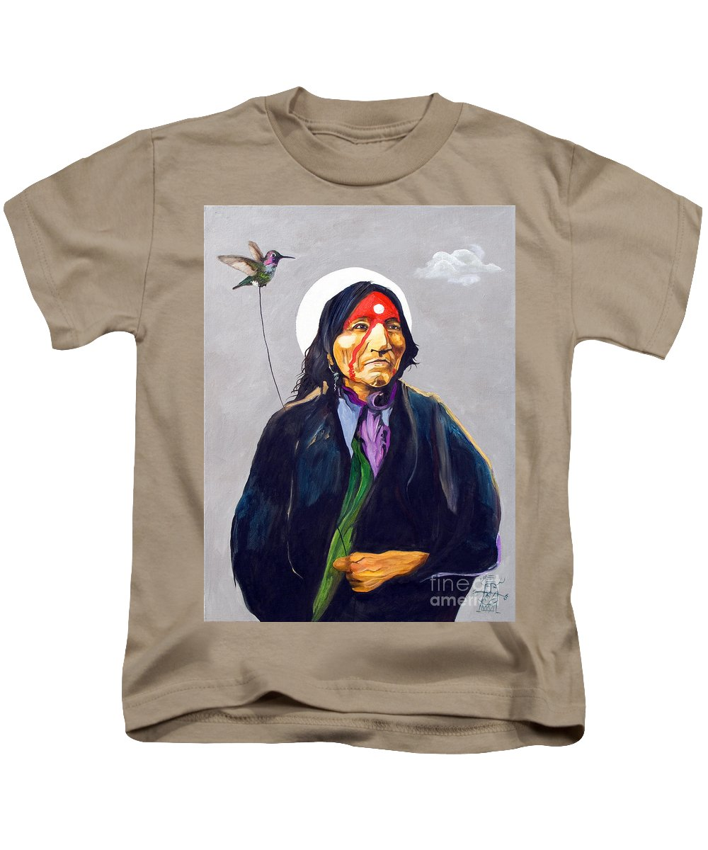 Shaman Kids T-Shirt featuring the painting Direct Connect by J W Baker