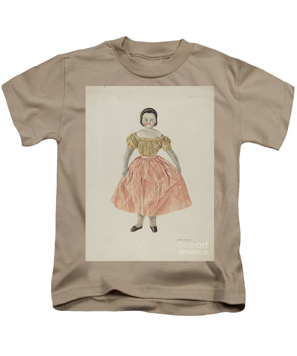 Kids T-Shirt featuring the painting Doll by Edith Towner