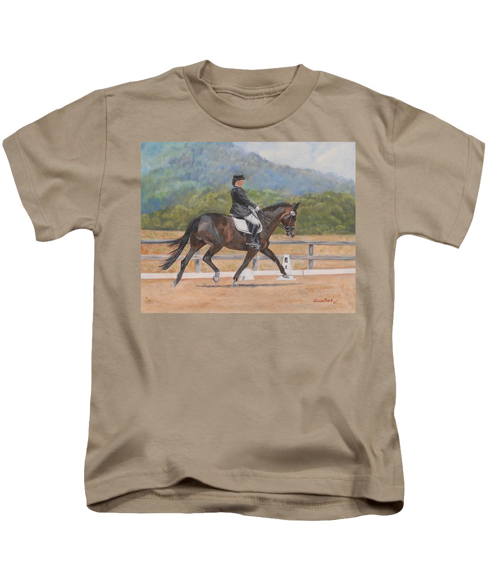 Horse Kids T-Shirt featuring the painting Donnerlittchen by Quwatha Valentine