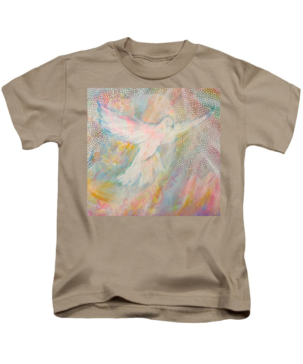 Dove Kids T-Shirt featuring the painting Dove Detail From Immaculate Conception by Anne Cameron Cutri