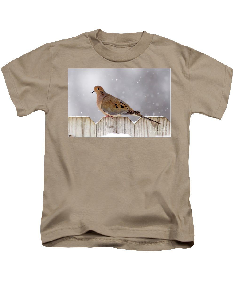 Dove Kids T-Shirt featuring the photograph Dove In The Snow by Betty LaRue