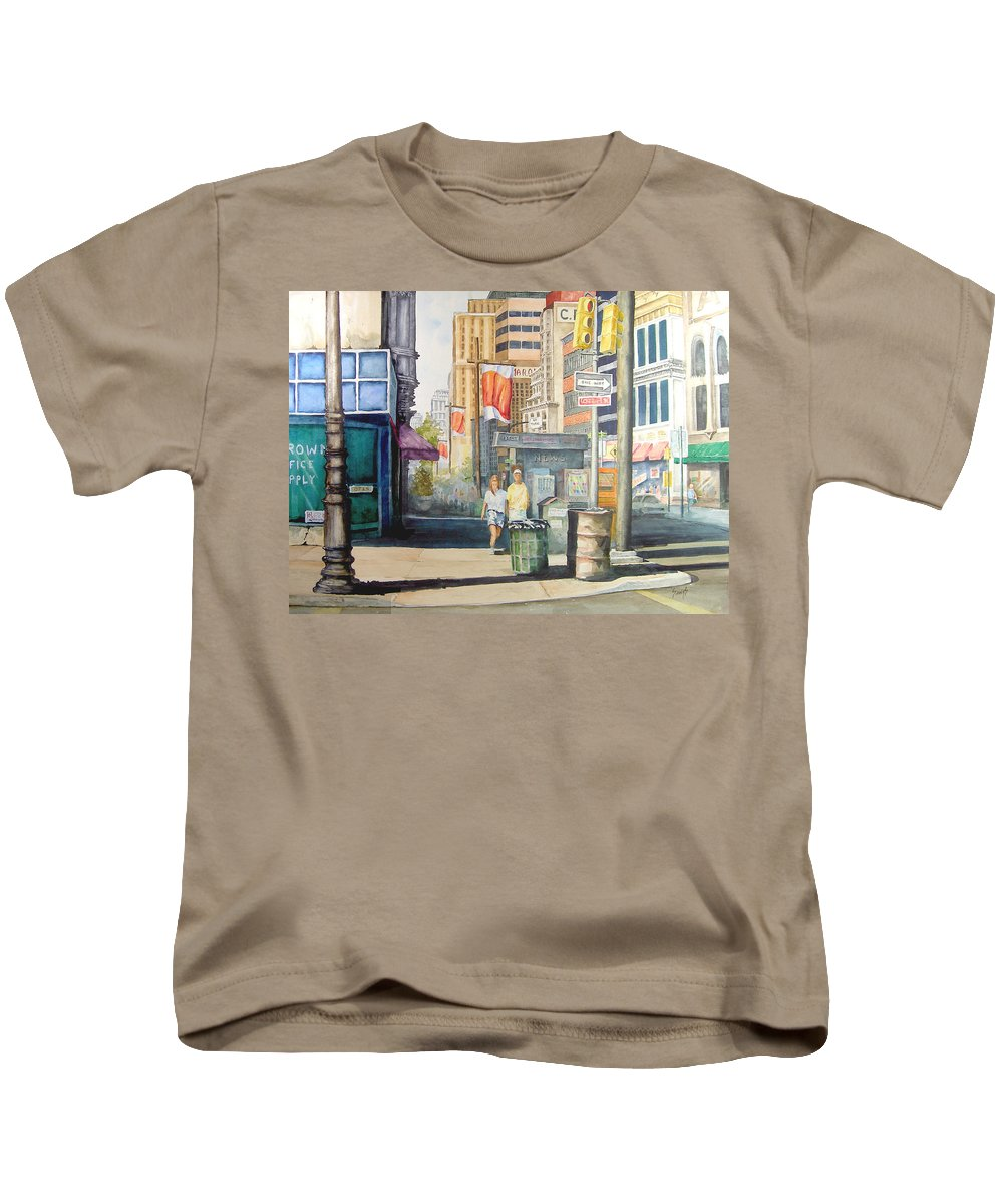 City Kids T-Shirt featuring the painting Downtown by Sam Sidders