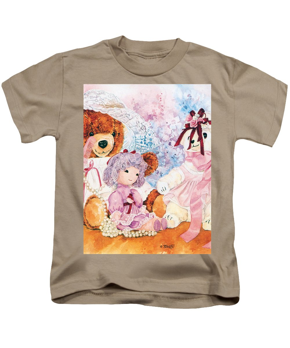 Teddy Bears Only Kids T-Shirt featuring the painting Dressing Up by TEDDY BEARS ONLY Wendy Tosoff