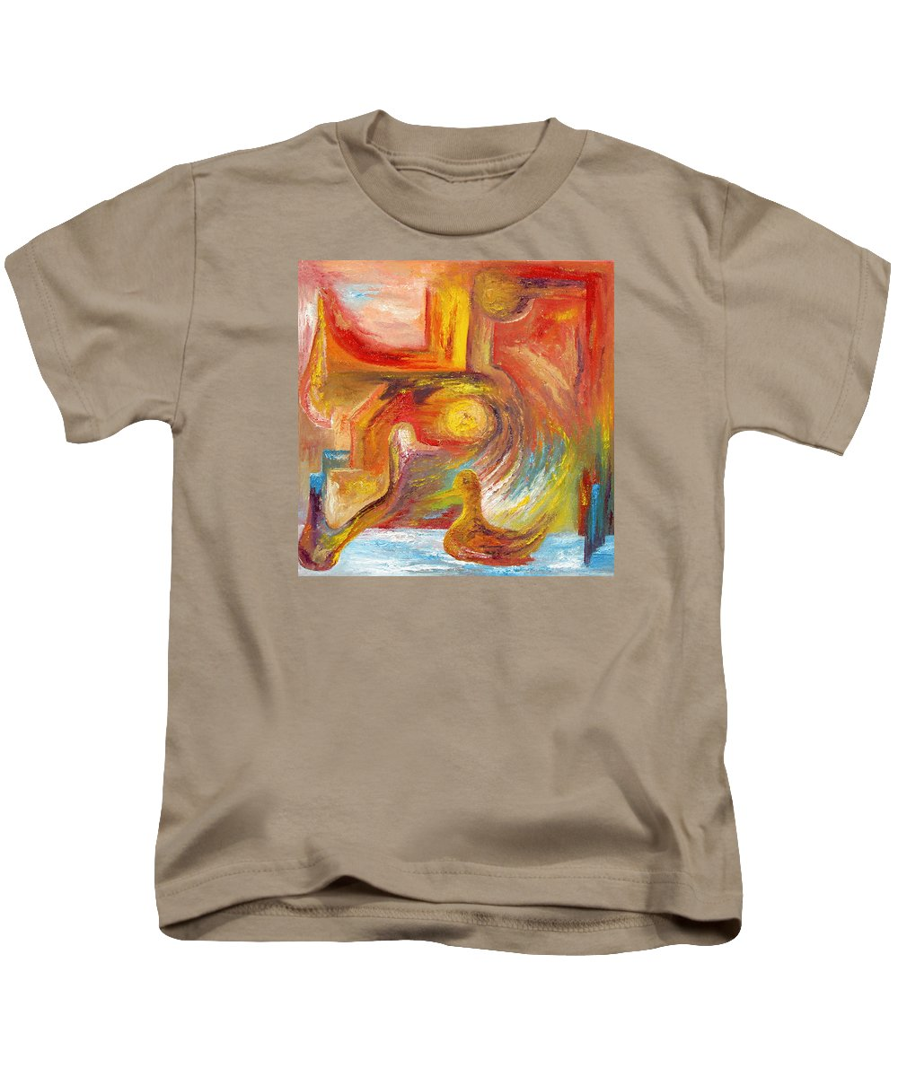 Duck Kids T-Shirt featuring the painting Duck The Alchemist by Karina Ishkhanova