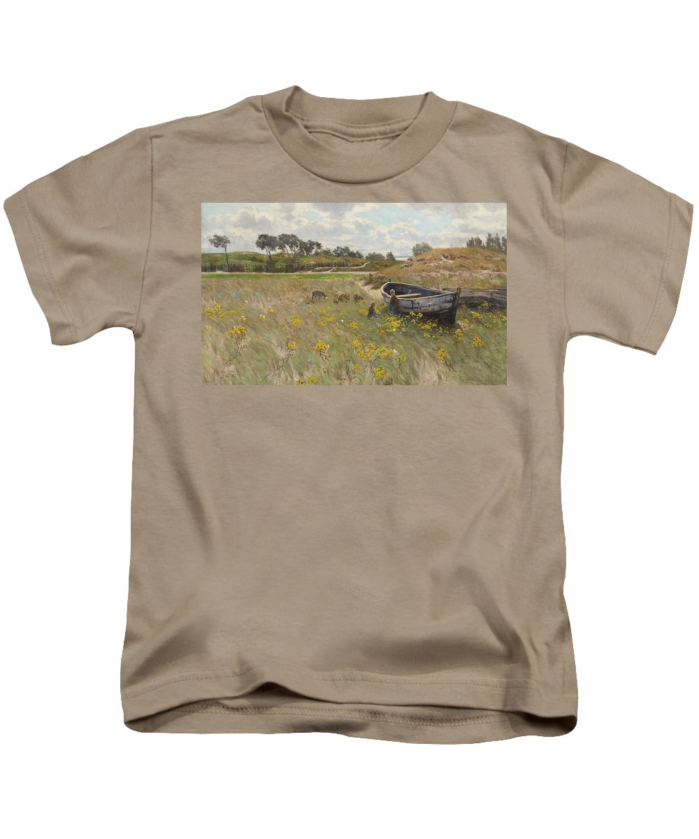 Paul M�ller-kaempff Kids T-Shirt featuring the painting Dune Landscape With Children And Sheep by Paul Mller-Kaempff