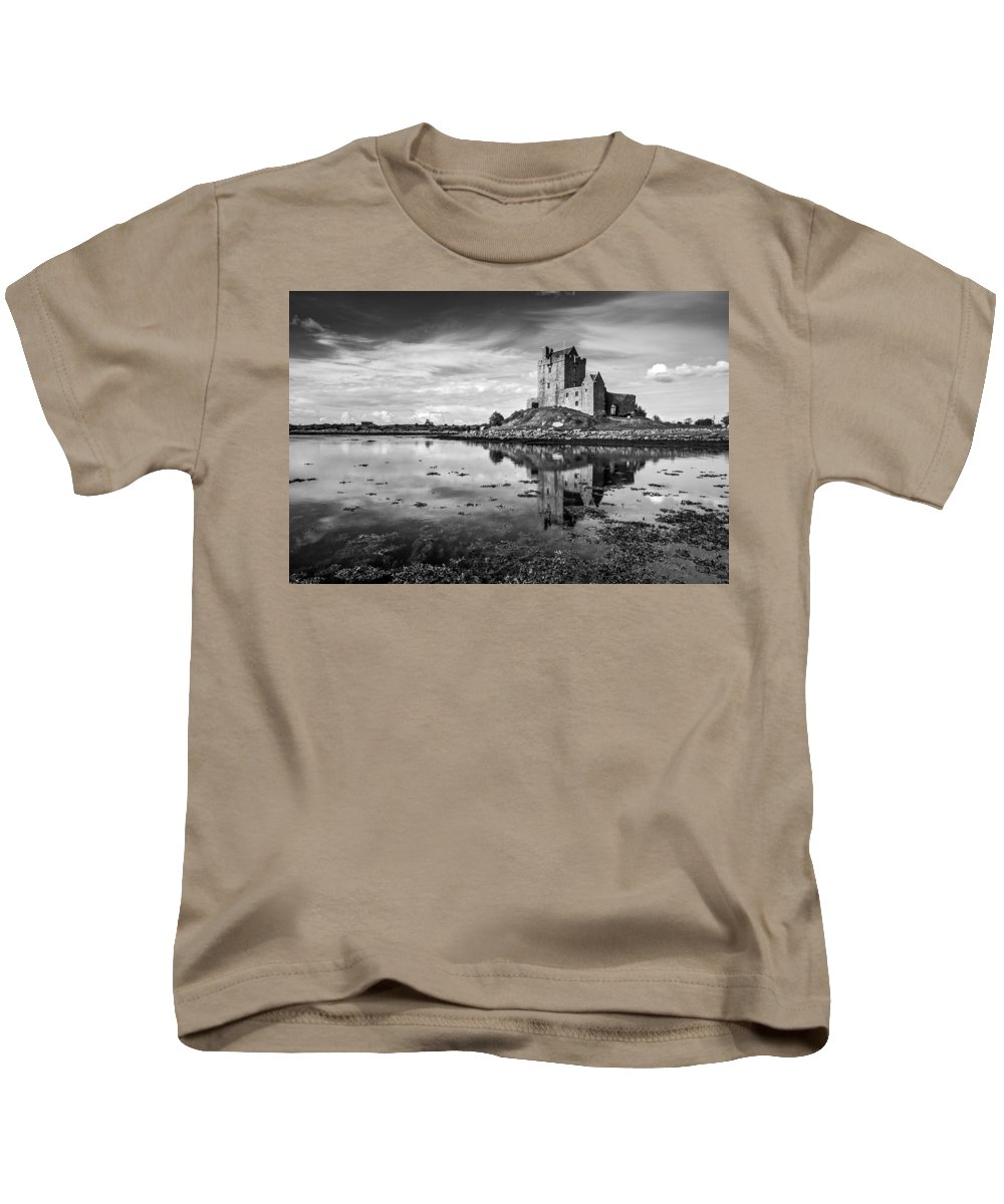 Dunguaire Castle Kids T-Shirt featuring the photograph Dunguaire Castle In Black And White by Pierre Leclerc Photography