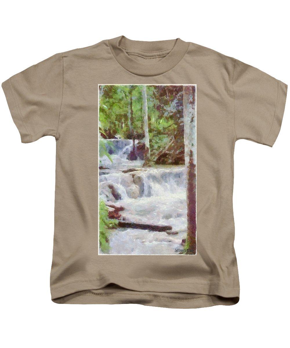 Dunn River Kids T-Shirt featuring the painting Dunn River Falls by Jeffrey Kolker