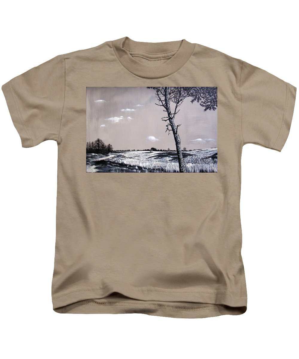 Duotone Kids T-Shirt featuring the painting Dutch Heathland by Arie Van der Wijst